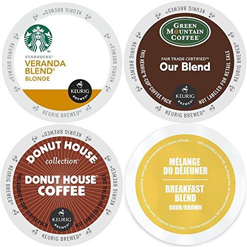 Keurig Light Roast K-Cup Coffee Variety Pack Bundle with Starbucks Veranda Blonde, Green Mountain Our Blend, Faro Breakfast Blend and Donut House - 96 Count