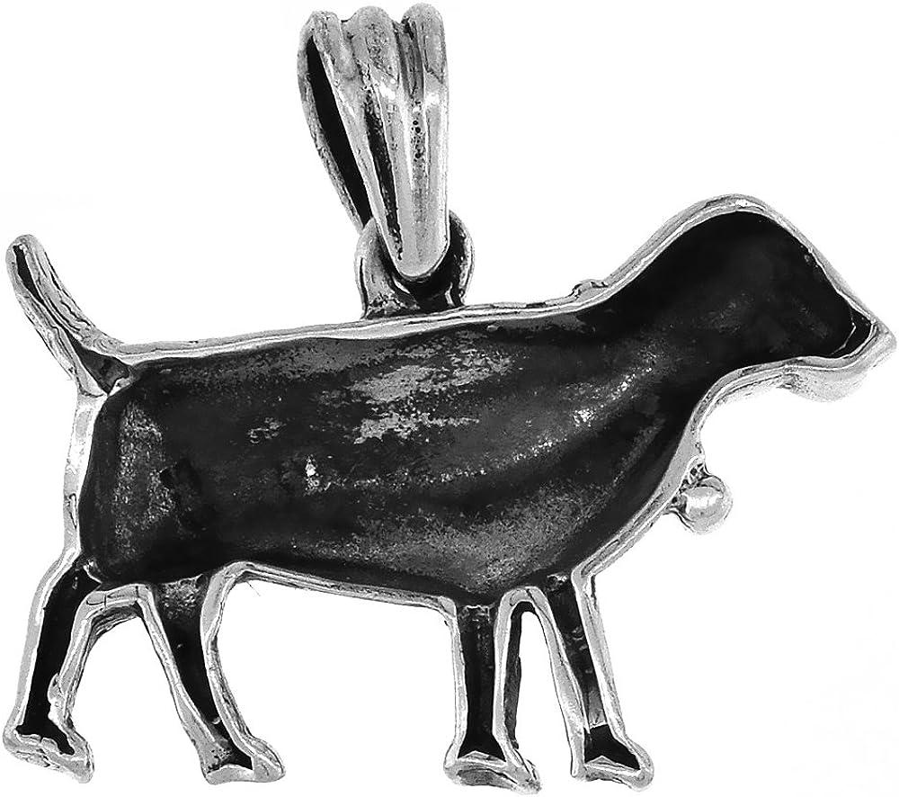 1 inch tall Sterling Silver Dainty Dog Charm