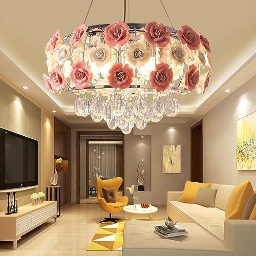 Pink Crystal Chandelier Modern Romantic Rose Flower Round Ceiling Lamp Pendant Lighting Semi Flush Mount Fixtures Ceramics Rose Decoration
