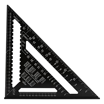 Triangle Ruler 12 Inch Aluminum Alloy Rafter Profile Triangular Rule High Precision Easy Read Square Protractor Layout Gauge Architect Engineer Carpenter Framing Measuring Lever Tool