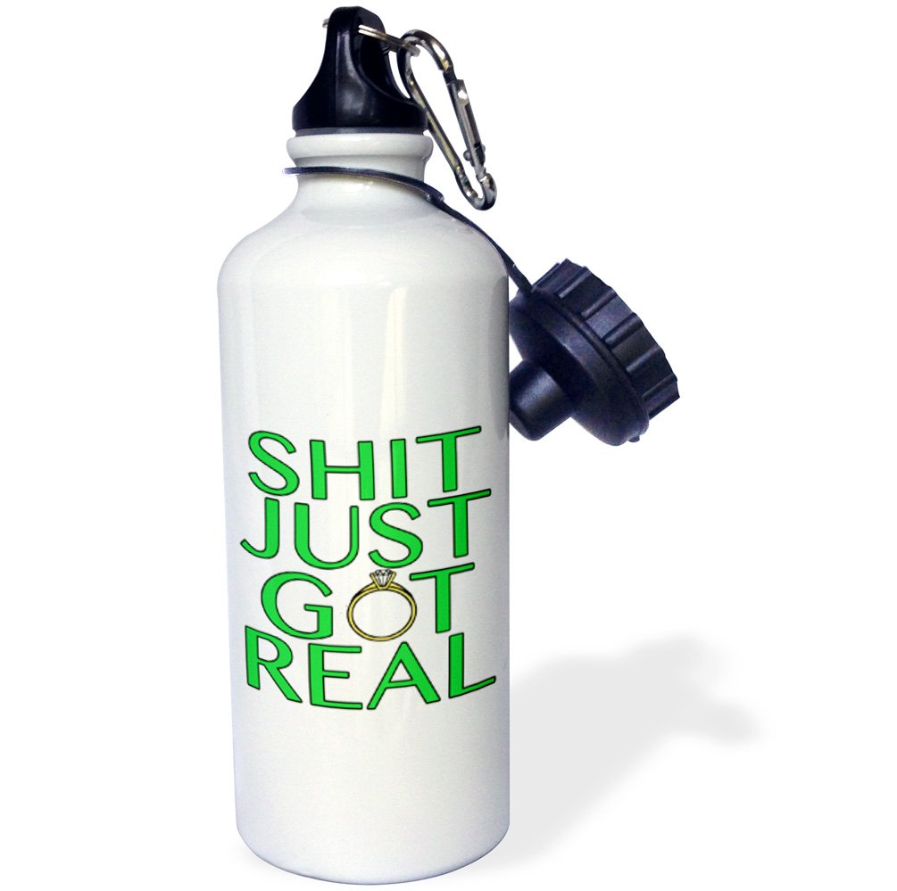3dRose wb/_222829/_1 Shit Just Got Real Green-Sports Water Bottle 21 oz White