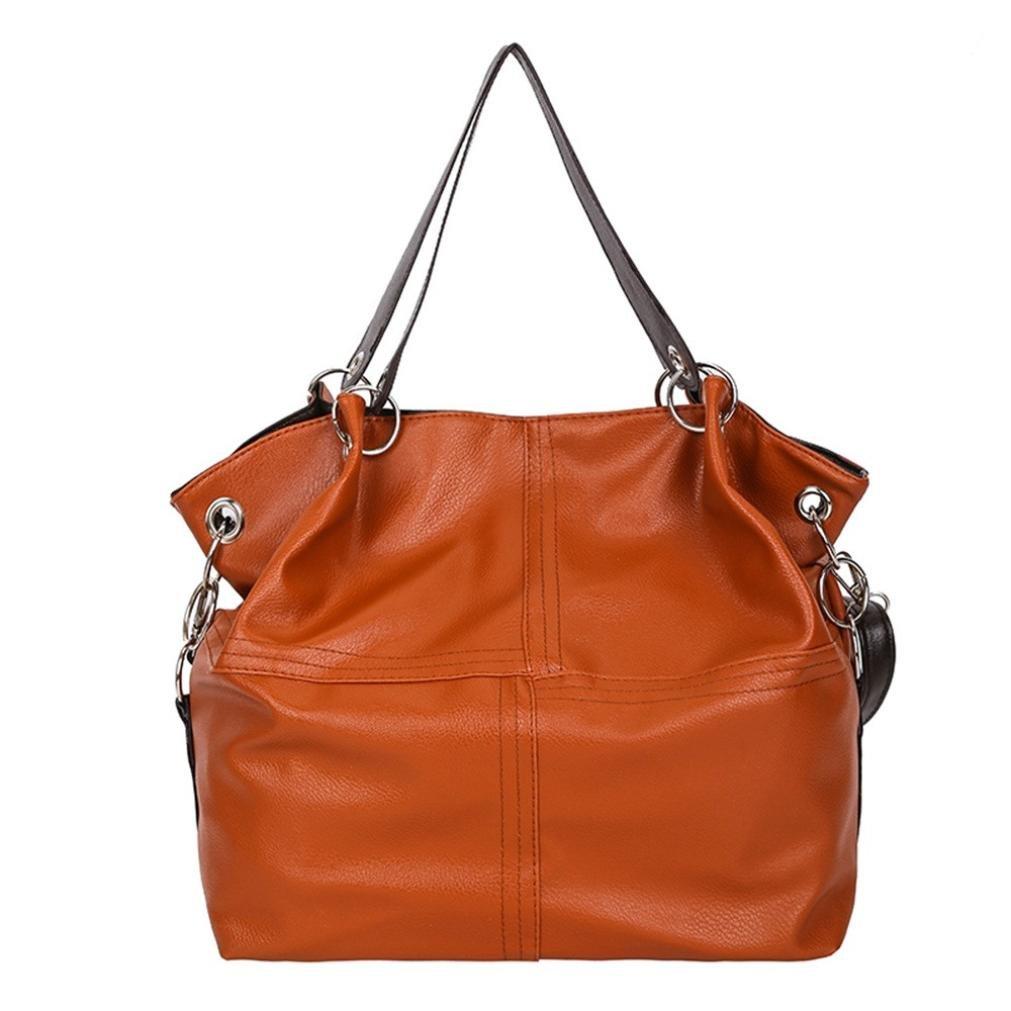 YJYDADA Fashion Women's Splice Leather Shoulder Bags With Corssbody Bag&Handbag (Brown)