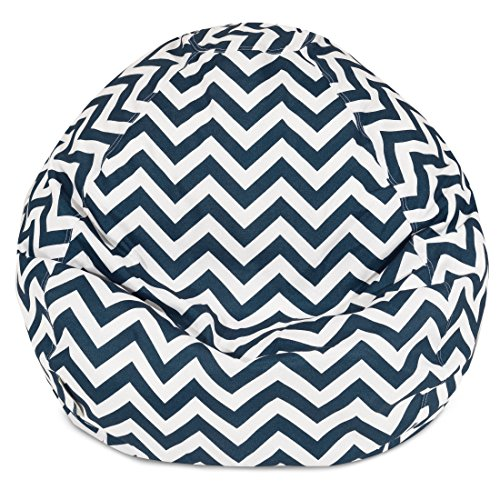 Majestic Home Goods Chevron Classic Bean Bag, Small, Navy