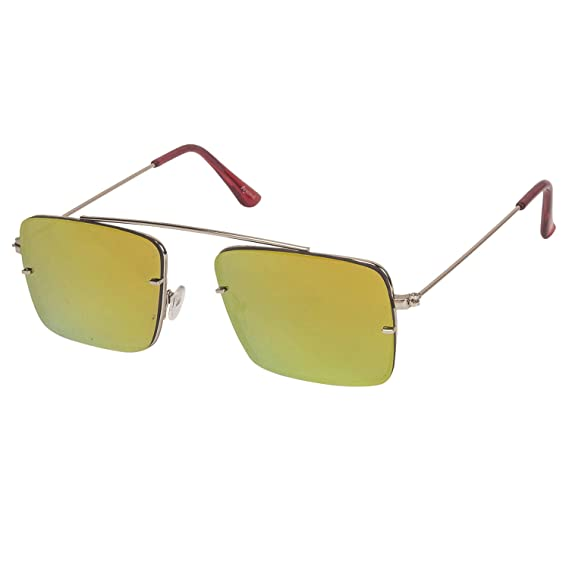 30573f0f2fd Arzonai Raees Rectangle Shape Silver-Orange Mirrored UV Protection  Sunglasses For Men  MA-9999-S11    Amazon.in  Clothing   Accessories