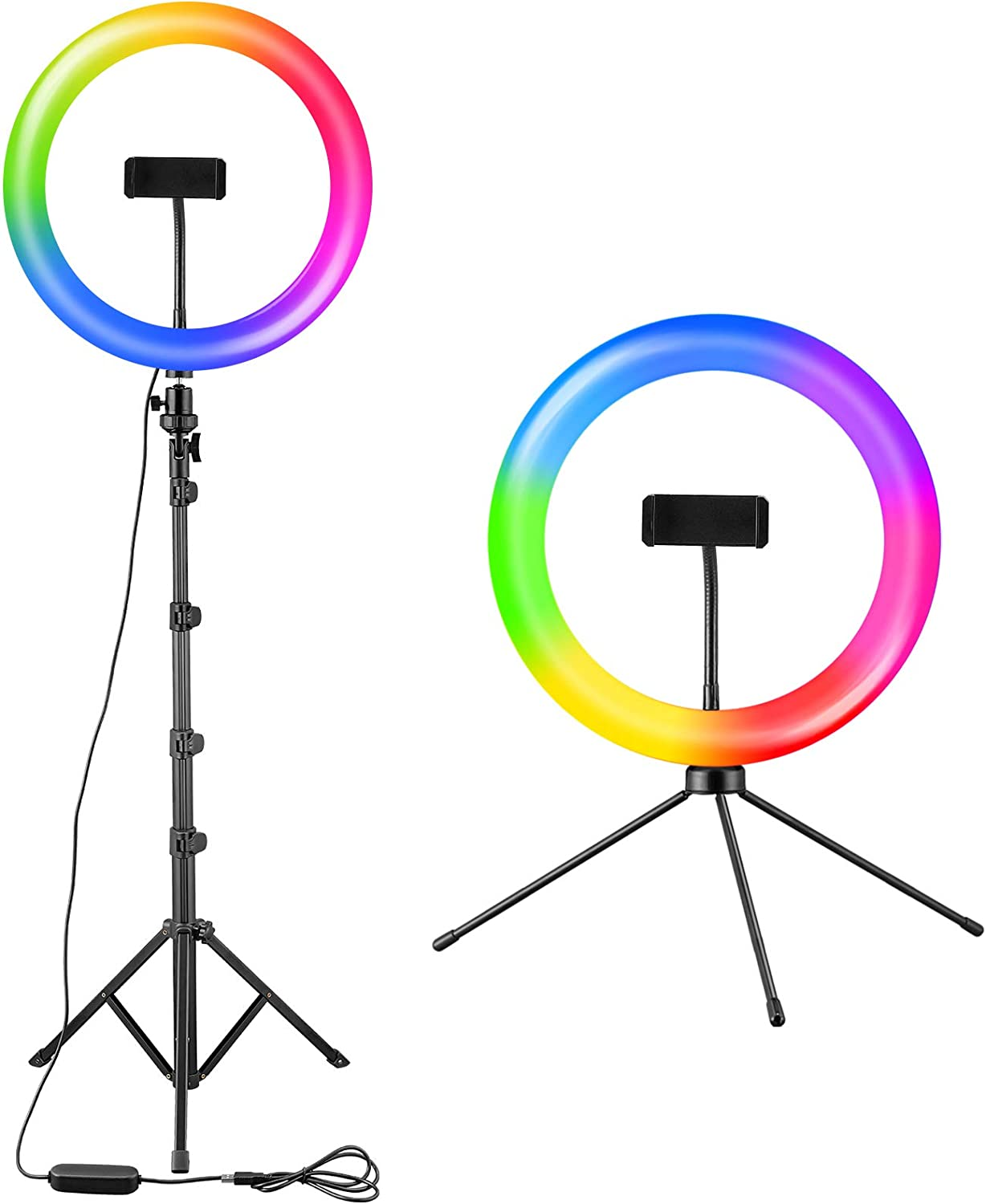"""10.2"""" RGB Selfie Ring Light with Two Tripod Stand and Phone Holder, 21 RGB Colors Dimmable LED Ring Light with Wireless Remote Control for Makeup, YouTube Video, Live Stream, Photography"""