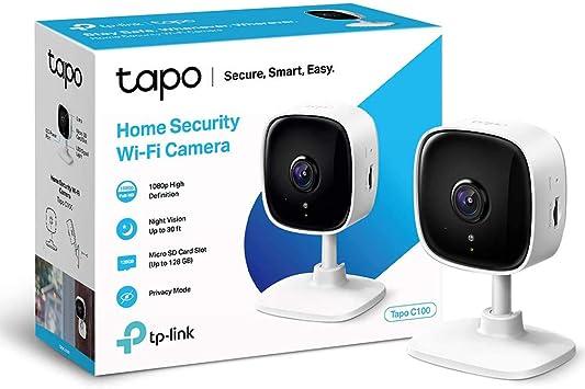 TP-Link IP Cámara Vigilancia WiFi Interior, Ideal para Mirar Bebés o Mascotas, Detección de Movimiento, Works with Alexa Google Home, Audio de 2 Vías, Visión Nocturna, Almacenamiento SD Tapo C100