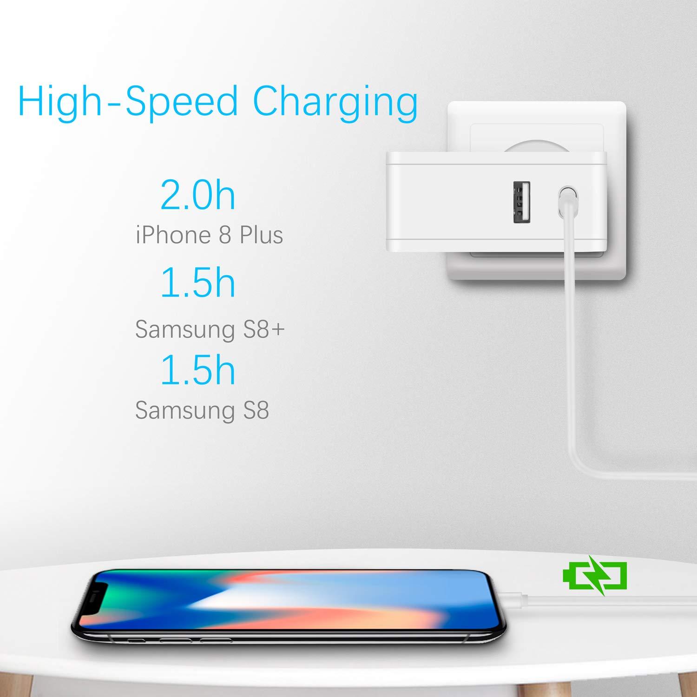 etc. JUMTOP Quick Charge 3.0 Chargeur Secteur USB 2 Ports Noir tablettes 60W 5V 2.4A Adaptateur Secteur USB pour Tous Les appareils iOS et Android Ainsi Que Les Ordinateurs Portables