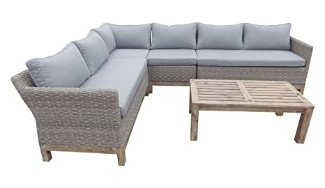 Sofa terraza rattan color natural acacia cojines gris ...