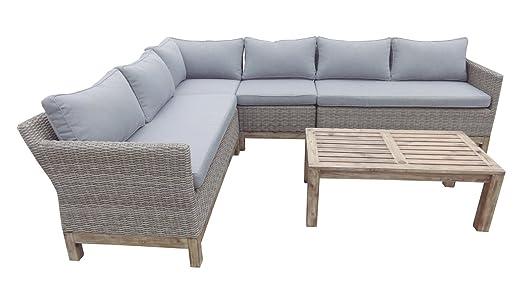 Sofa Terraza Rattan Color Natural Acacia Cojines Gris