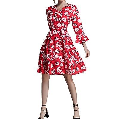 4URNEED Vintage V-Ausschnitt Damen Geblümt 3/4 Volants Aermel Partykleid Skaterkleid Casual Abend Kleid Knielang Rot