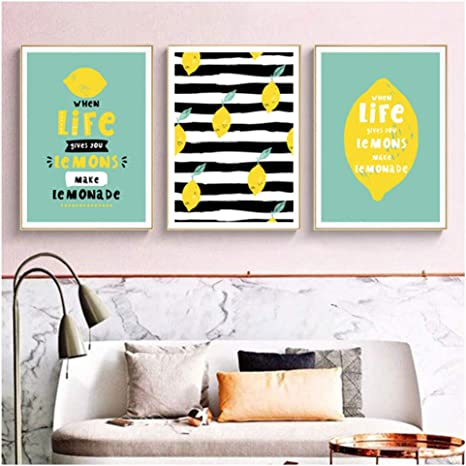 Amazon Com Wzgsffs Kitchen Decor Lemon Pictures Canvas Paintings Wall Art Pictures For Living Room Home Decorations 40x60cmx3 Without Frame Posters Prints