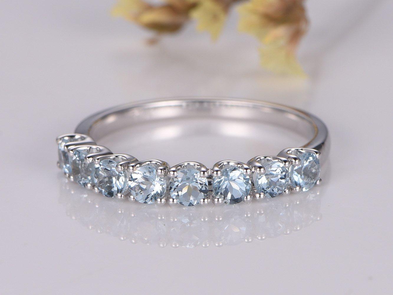 3mm VS Aquamarine Wedding Band 14K White Gold Engagement Ring, 1/2 Eternity Bridal Wedding Band Deco Promise Ring Anniversary Ring