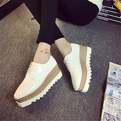 Sport White Patent Leather (Beststore VAO 35-39 Spring Casual Solid Flat Women Shoes Patent Leather Lace-Up Loafers Flat Platforms British Style Ladies Oxfords White 7)