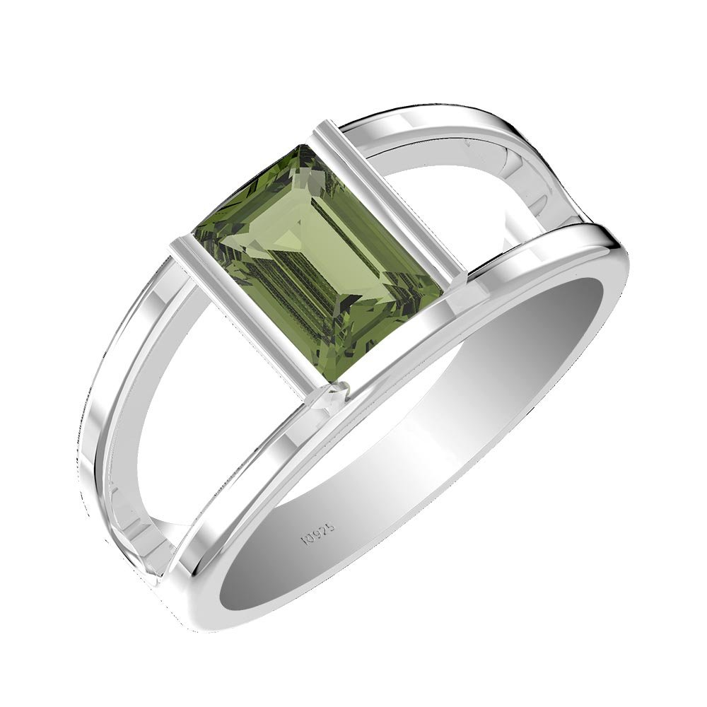 1.50ct, Genuine Moldavite 6x8mm Octagon & Solid .925 Sterling Silver Ring (Size-9.5)