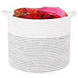 DOKEHOM Large Storage Baskets-15 Inches(D) x 13 Inches(H)- Cotton Rope Basket Woven Baby Laundry Basket with Handle for Diaper Toy Cute Neutral Home Decor (White, M)