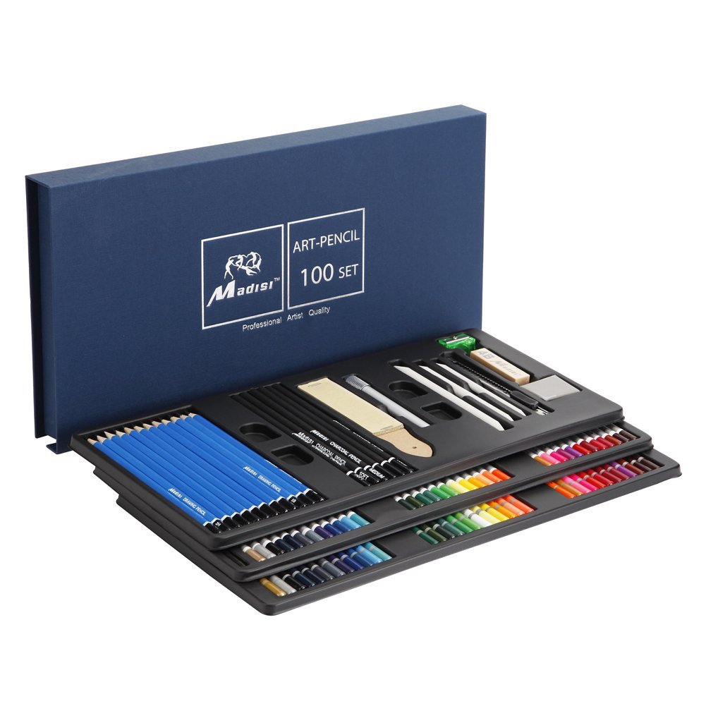Madisi Art Kit 100 PCS - 36 Watercolor Pencils, 36 Colored Pencils, 28 Sketch Kit Art Set - Premium Art Supplies