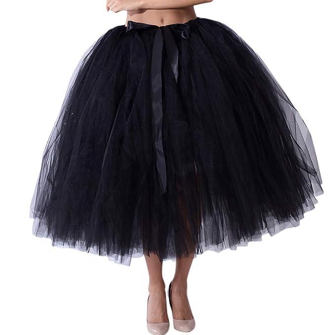 210223d5ba Naturazy Elegante Falda Larga De Tul Plisada Tutu Malla De Noche Fiesta Moda  Cintura Alta EláStica para Mujer ComunióN Paseo Baile Pageant Damas De  Honor  ...