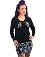 Too Fast Women's RIP Skeleton Skull Coffins Halloween Embroidered Cardigan Sweater