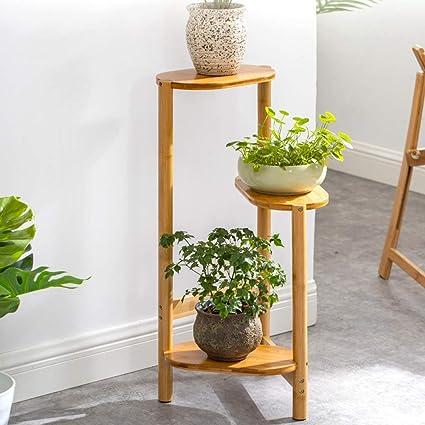 Zerone Soporte de Bambú para Plantas, Estantería para Macetas con 3 Niveles para Jardín Balcón Interior(Color de Madera)