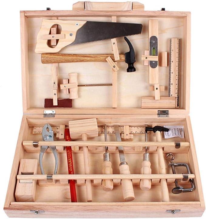 luminiu Caja de Herramientas Juego Infantil,Juego Caja Carpintero DIY Toys Herramientas Juguete de construcción Juegos de rol Utensilios para niños Herramientas Maleta