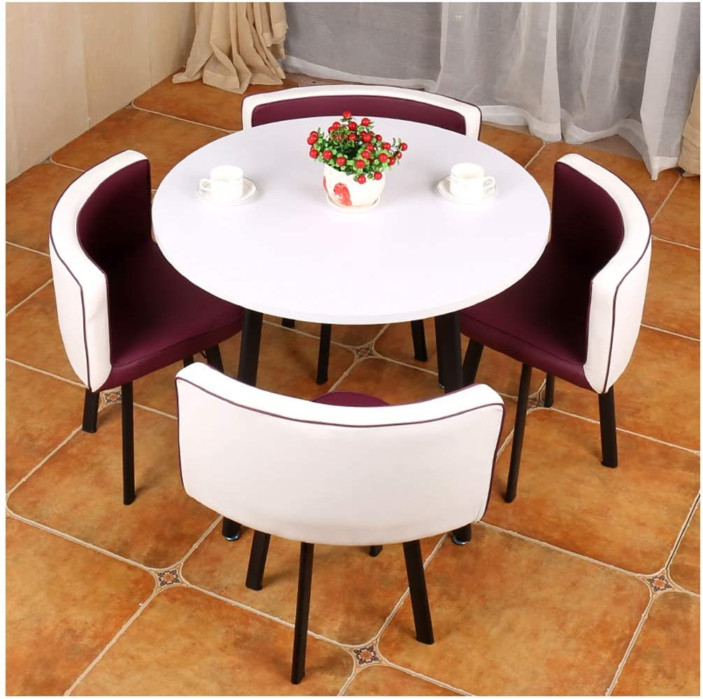 Amazon Com Home Leisure Tables And Chairs Modern Minimalist Style Living Room Kitchen Dining Table Office Reception Lounge Area 1 Table And 4 Chairs 80cm 90cm Wooden Round Table Bedroom Hotel Coffee Shop