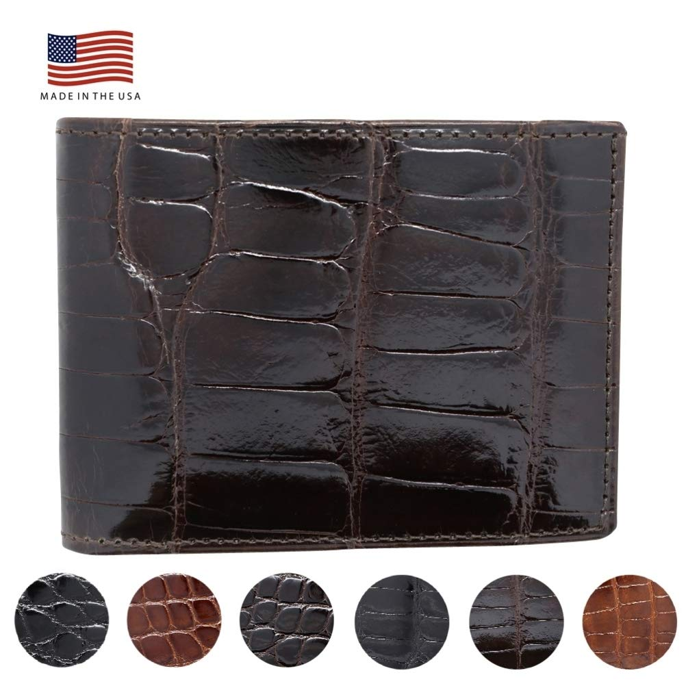 Brown Genuine Glazed Alligator Wallet - American Factory Direct - Made in USA by Real Leather Creations FBA732 TT