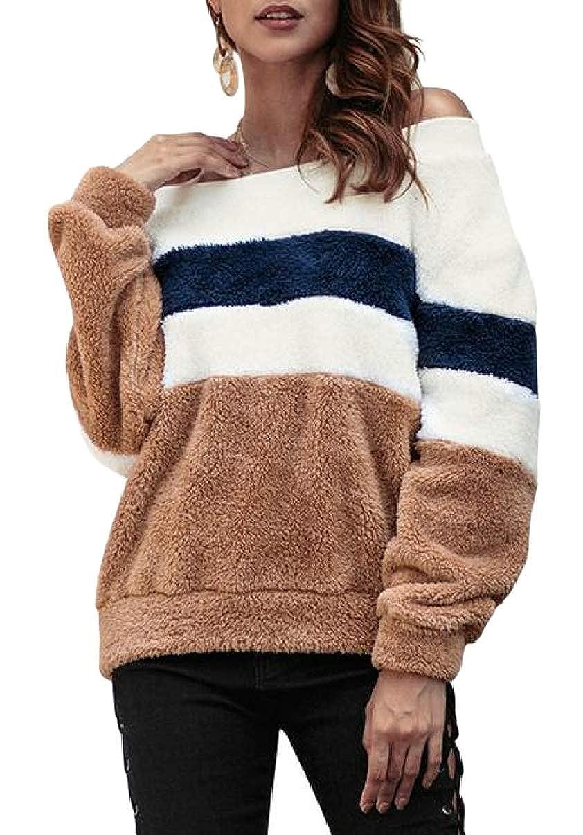CBTLVSN Women Off Shoulder Flufffy Fleece Long Sleeve Pullover Tops Sweatshirt