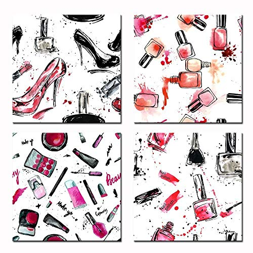 sechars - Fashion Makeup Art Print Poster with Wood Frame,Creative Design High Heel,Nail Polish,Lipstick Picture Giclee Print on Canvas,Laundry Room and Shoe Store Wall Decor Artwork,Ready to Hang