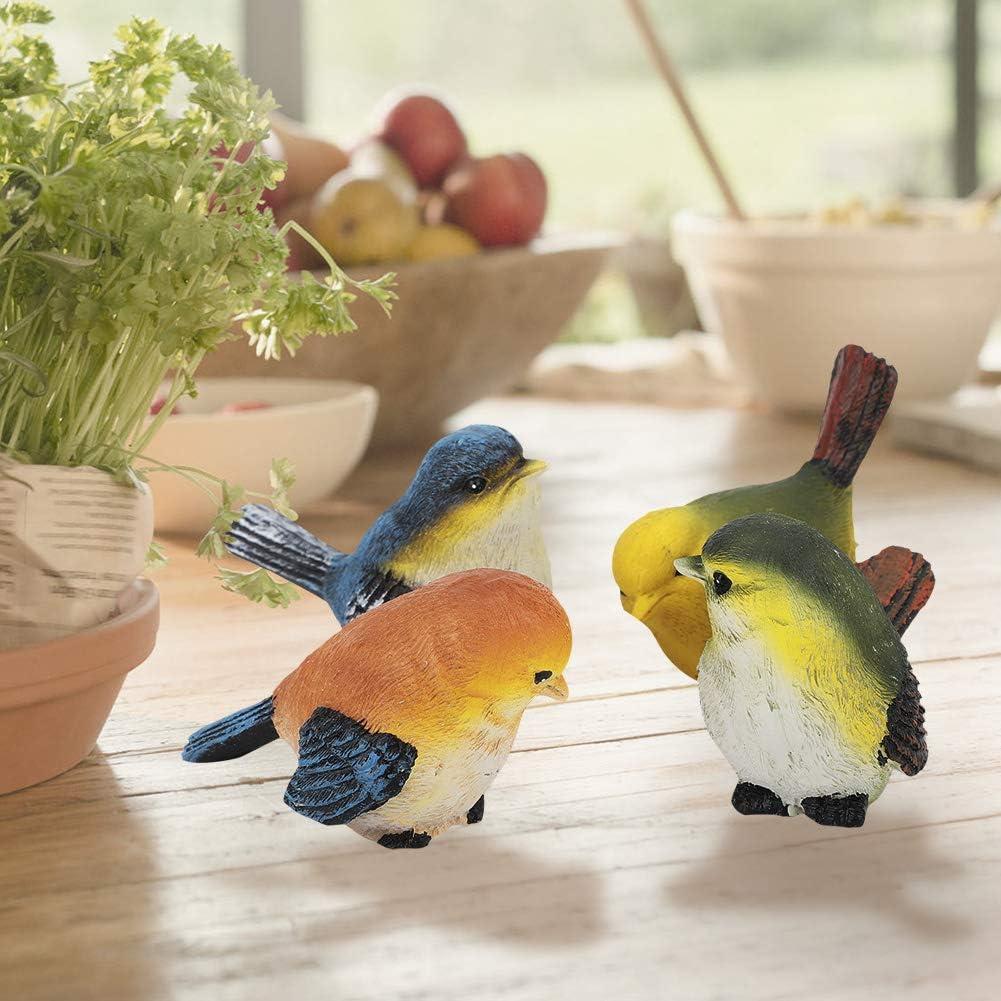 Aufee 4 Pcs Ornements De Jardin D/écorations De Jardin Sculpture Jardin Oiseau en R/ésine pour Patio Jardin Cadeau pour Amis Enfants