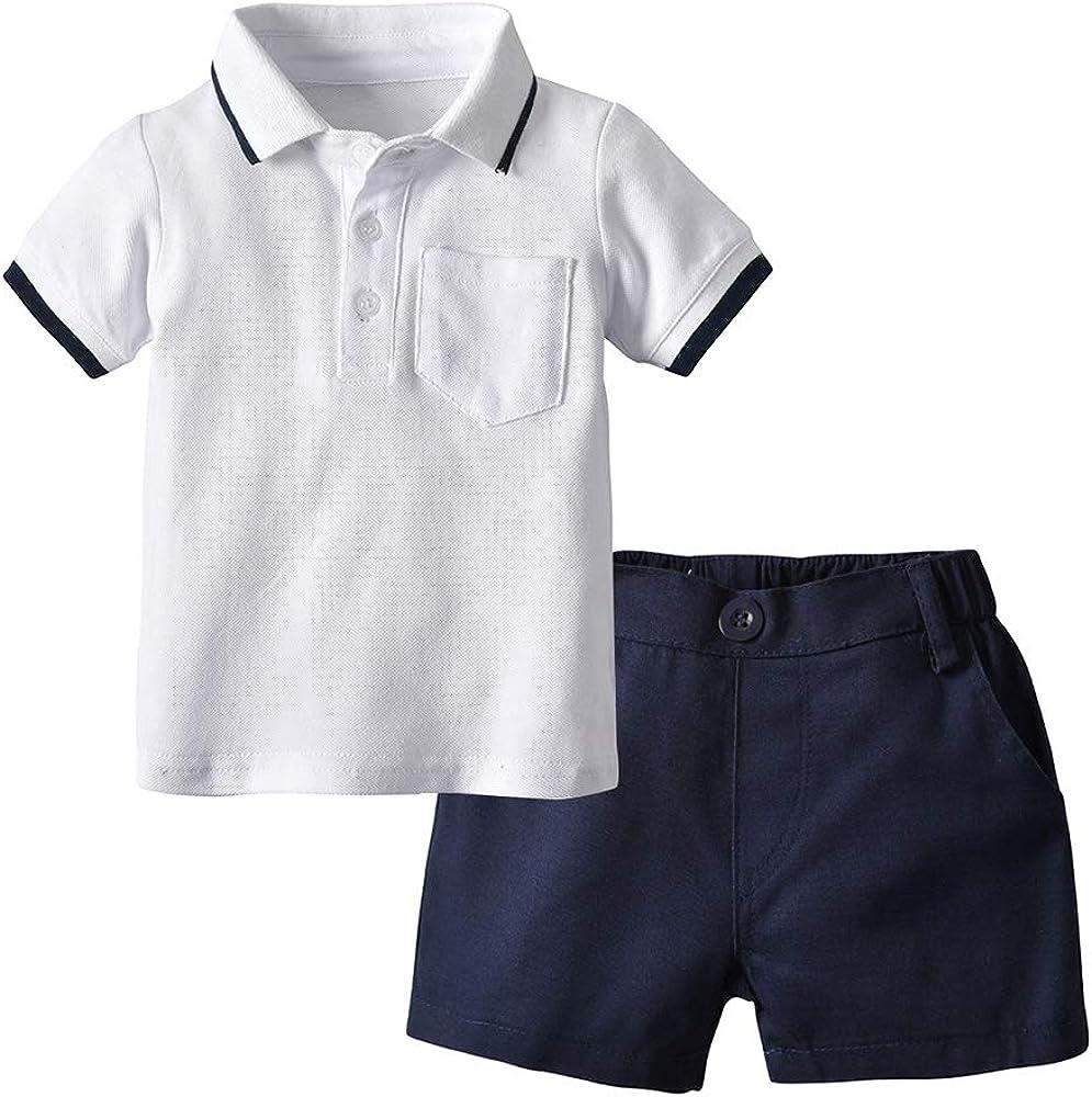 Hongyuangl Bebé niño Polo Conjunto de camiseta de manga corta + ...