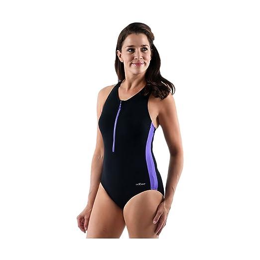 dfb8741d75c Dolfin Women s Zip-Front Racerback Solid ONE-Piece Swimsuit Black Purple  Size 6