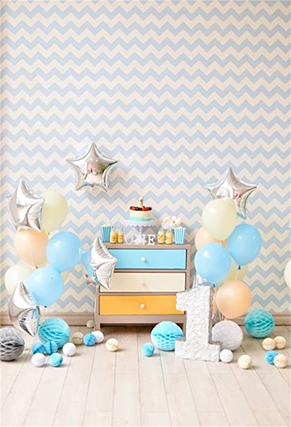 AOFOTO 5x7ft Baby Girl Boy 1st First Birthday Party Decor Photography Studio Backdrops Sweet Balloons