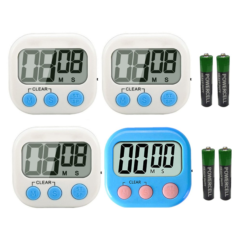 Digital Kitchen Timers - Simple Operation,Big Digits,Loud Alarm,Magnetic Backing Stand Multipurpose Cooking Timer for Cook,Baking,Doing face mask,Yoga,Sports Games,Office(3 Pack White+1 Pack Blue)