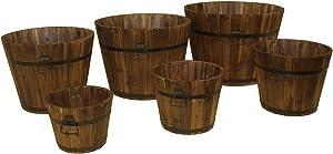 DeVault Enterprises DEVBP208 Enterprises 6 Piece Wooden Whiskey Barrel Planter Set