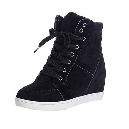 Zapatos Botas,ZARLLE Mujeres De Moda OtoñO Invierno Dedo Del Pie Redondo De Encaje-