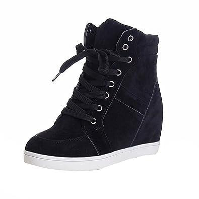 689fb67d2c8db Bottes Mode Femme Chaussure,Ronde Toe Boots en Toile à Lacets,Baskets Talon  Compensé