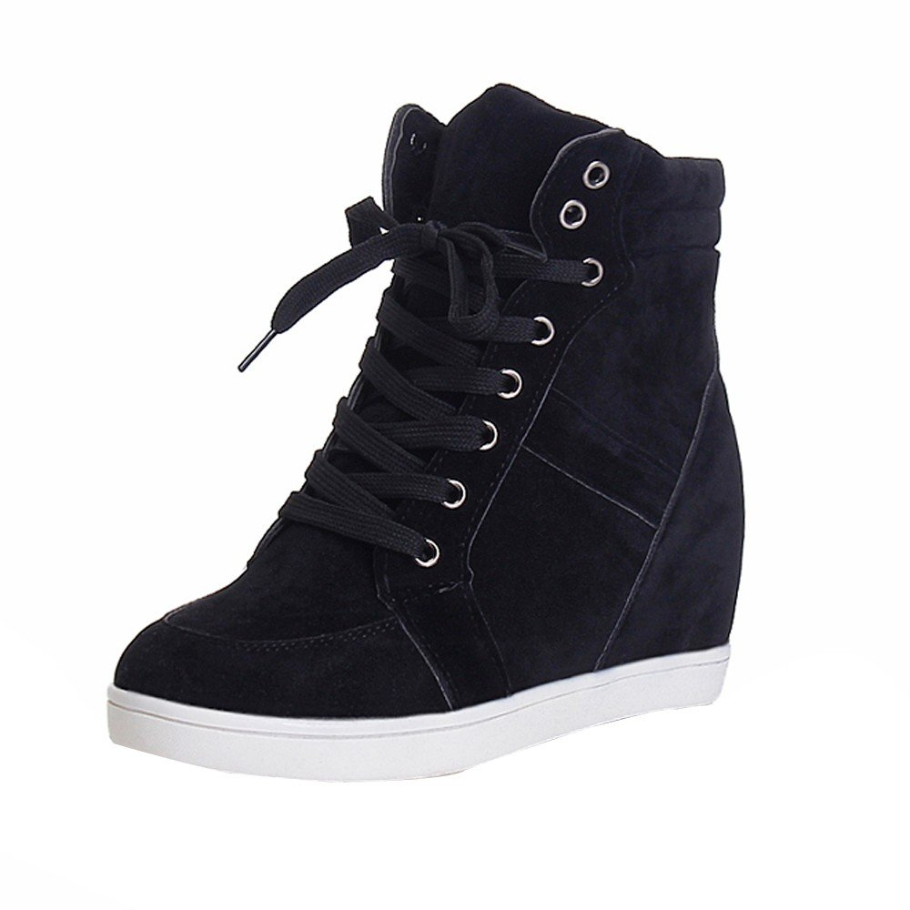 Londony ♪✿ Clearance Sales,Women's Sneaker High-Heeled Lace-up Slip-on Booties Cross High Pump Wedges Shoes