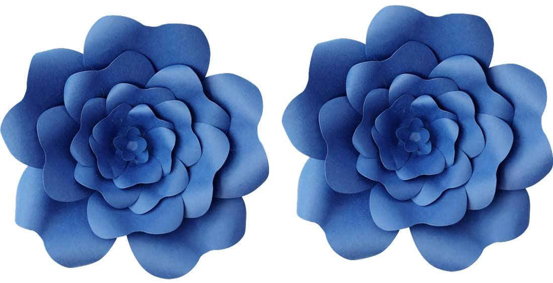 16inch 2pcs Paper Flower Decroations 3D Paper Flower DIY Handcrafted Flowers Wedding Party Backdrop Flowers Wall Backdrop Flower for Birthday Table Baby Shower Home Decor (16inch, Royal Blue)