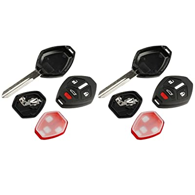 Key Fob Keyless Entry Uncut Remote Shell Case & Pad fits Mitsubishi 2006-2007 Eclipse / 2006-2007 Galant, Set of 2: Automotive