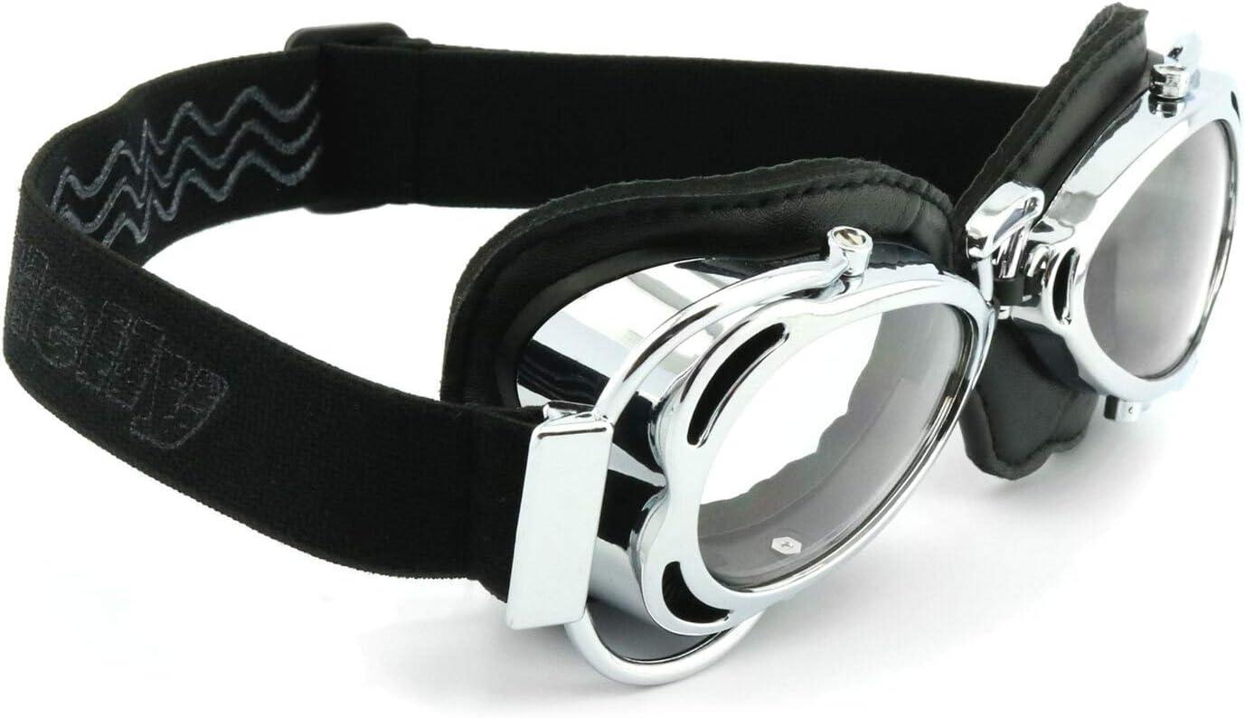 Helm No.1 Bikereyes/® winddicht HLT/® Kunststoff-Sicherheitsglas nach DIN EN 166 Helly/® Flieger Brille: 1370 Harley beschlagfrei Classic Chopper Retro Biker Vintage Motorradbrille