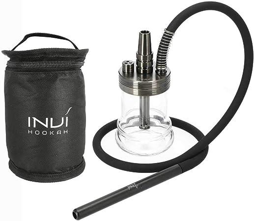 INVI® Nano Black Edition Shisha Set con bolsa de viaje, incluye manguera y adaptador, accesorios para shisha con juntas y difusor, 19 cm de altura ...