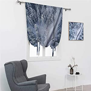 "Roman Shades for Windows Scenery Room Darken Curtains Winter Themed Landscape 42"" Wide by 72"" Long"