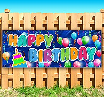 Flag, Advertising Store Many Sizes Available Happy Birthday 13 oz Heavy Duty Vinyl Banner Sign with Metal Grommets New