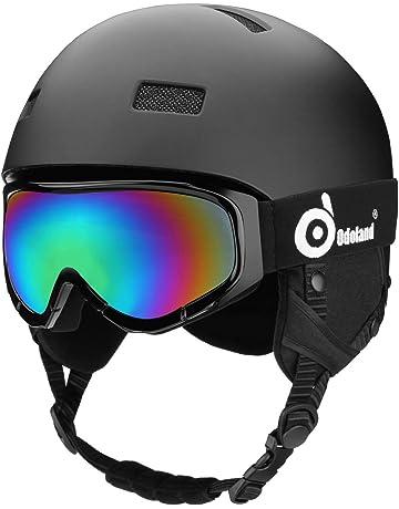 4a04ec151003c8 Odoland Casque de Neige avec Lunettes de Ski pour Adulte et Jeune, Certifié  EN1077 Casque