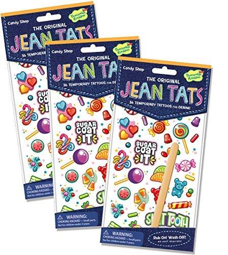 Peaceable Kingdom Jean Tats Sweet Treats Temporary Tattoos for Fabric - 3 Pack -