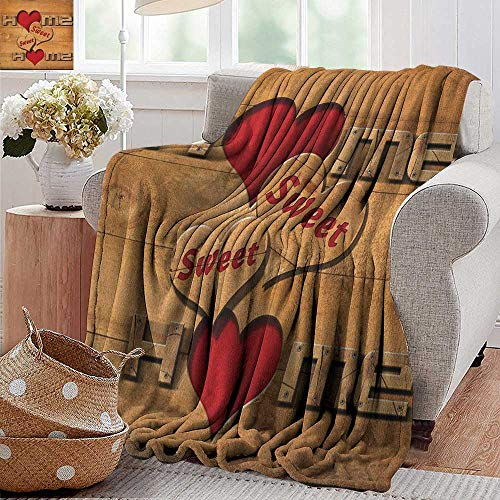 XavieraDoherty Cool Blanket,Home Sweet Home,Words with Heart Shapes on Wooden Planks Log Cabin Country House, Pale Brown Red Black,for Bed & Couch Sofa Easy Care 50