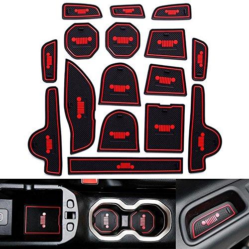 Autou Door Mats Gate Slot Cup Mat Red 16Pcs for Jeep Renegade 2016 2017