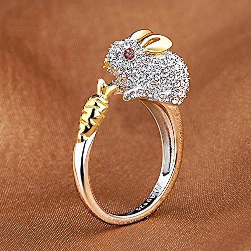 Meenanoom Crystals Lovely Opening Ring Bunny Rhinestone Animal Rings For Women Rabbit (Bunny Doorbell)