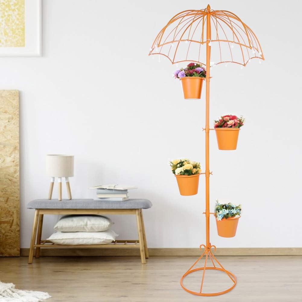 Plant Rack Modern Classic Umbrella Shape Flower Pot Rack 4 Tier Metal Garden Plant Stands Home Decor with Lights Battery Not Include