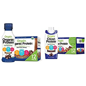 Orgain Organic 26g Grass Fed Whey Protein Shake, Creamy Chocolate - 14 Ounce, 12 Count & Grass Fed Clean Protein Shake, Creamy Chocolate Fudge - 11 oz, 12 Count (Packaging May Vary)